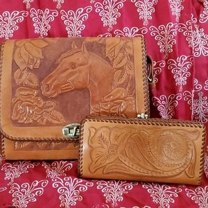 Hand tooled leather bag and wallet